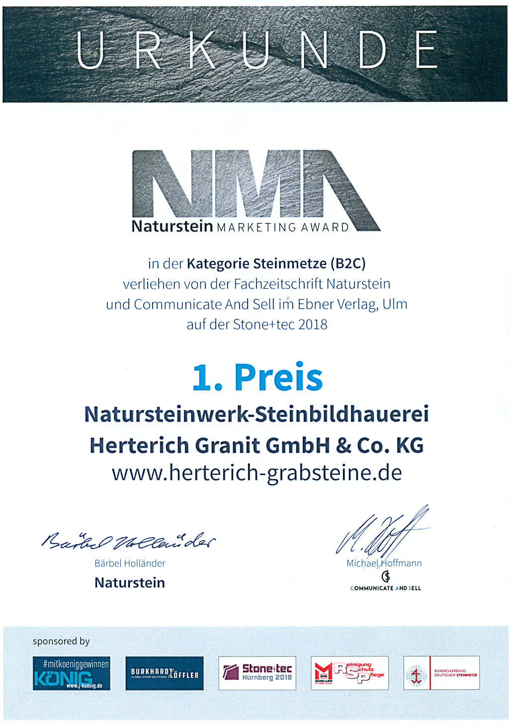 Naturstein-Marketing-Award-Urkunde